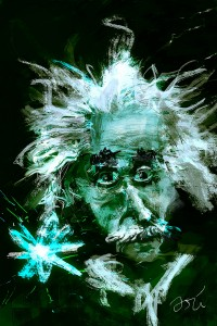 e=lsd-einstein painting by Ori Bengal