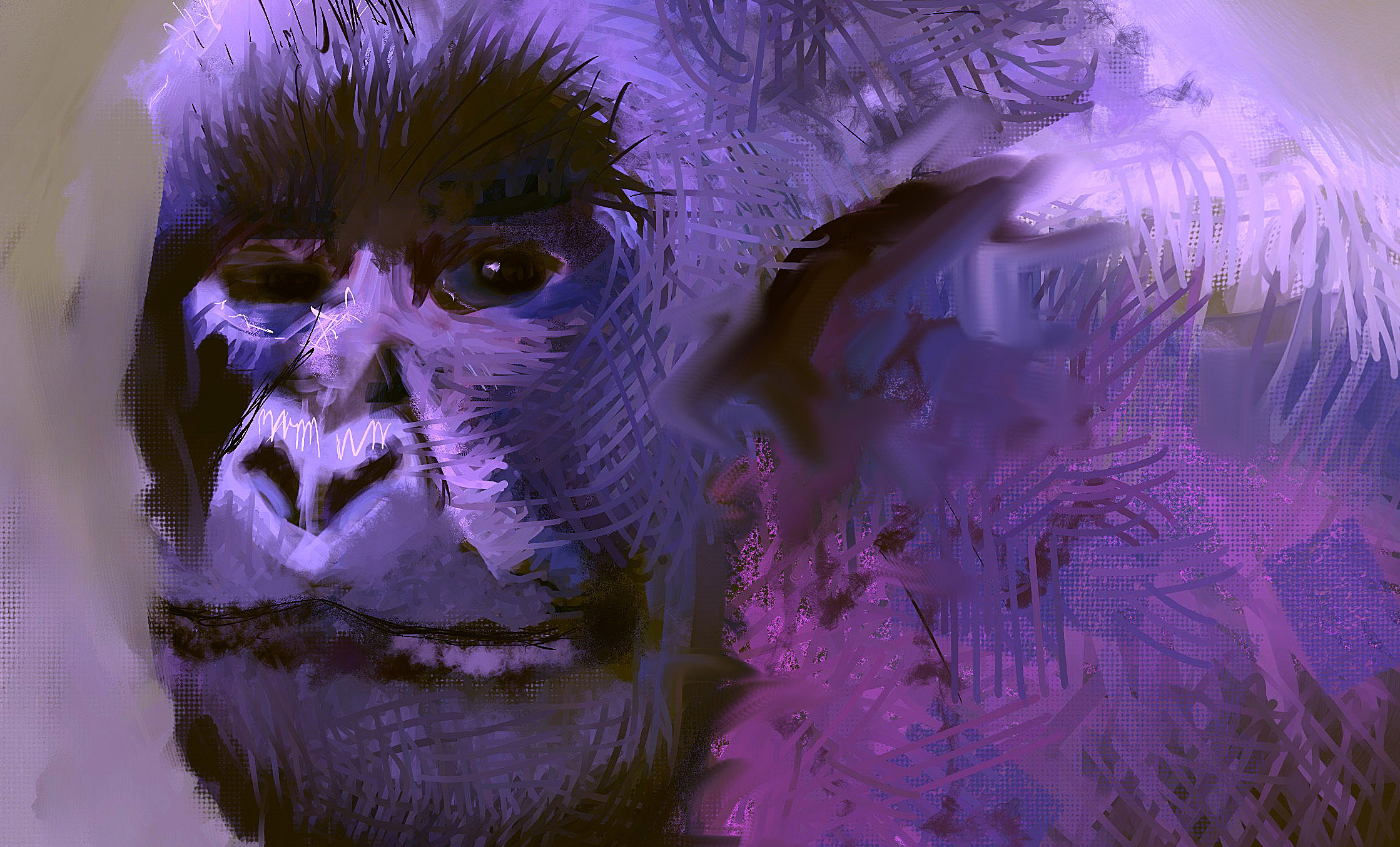 Closeup of the Harambe The Gorilla painting by Ori Bengal