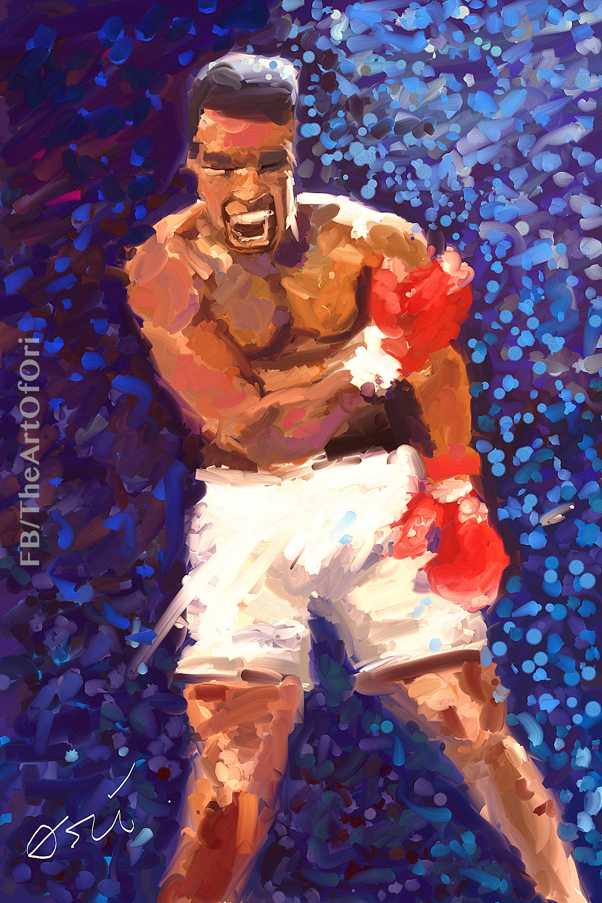 Cassius Marcellus Clay, Jr. - Muhammad Ali painting by Ori Bengal